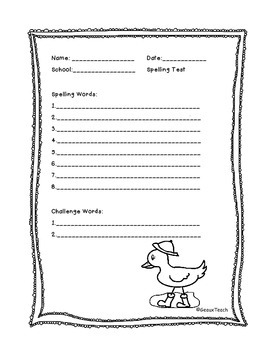 Spelling Test Template for April