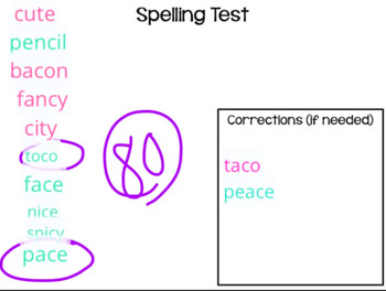 Spelling Test Template for Seesaw