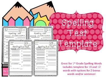 Spelling Test & Pre-Test Template- kindergarten, 1st grade, 2nd grade
