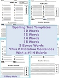 Spelling Test Template with #1-4 Rubric