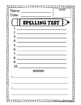 Spelling Test Template with Dictation