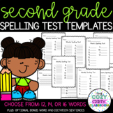 Spelling Test Templates (12, 14, and 16 words)
