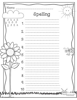 Spelling Test Templates: Seasonal Themed