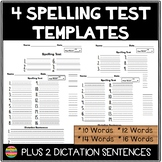 Spelling Test Templates with up to 16 Words