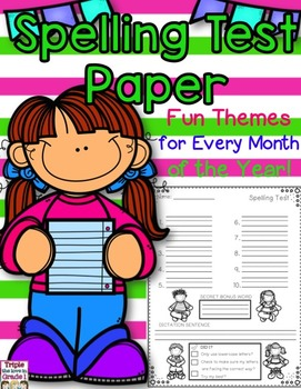 Spelling Test Thematic Papers