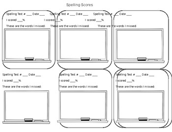 Spelling Test Tracker Page for Data Binders