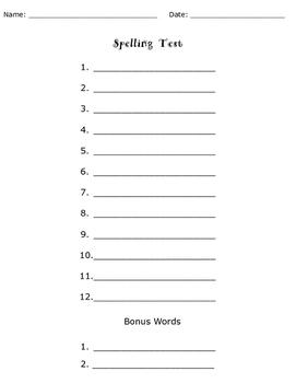 Spelling Test With Bonus Words Bundle