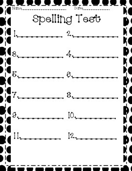 Spelling Test and Practice Pages