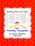 Spelling Test and Quiz Templates - Monthly
