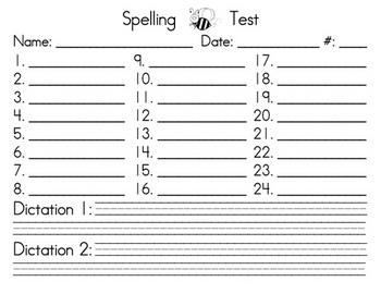 Spelling Test form - upper grades