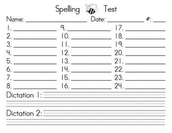 Spelling Test form - upper grades w/ SMARTBOARD display