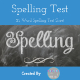 Spelling Test of 25 words Freebie