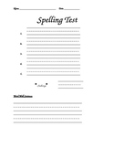 Spelling Test page