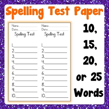 Spelling Test paper for Weekly Spelling Words