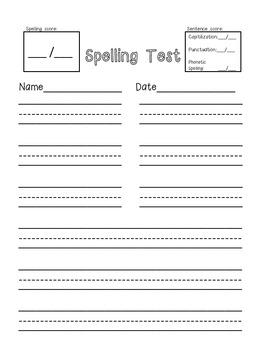 Spelling Test template-freebie!