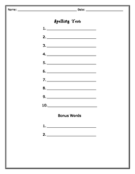 Spelling Test with Bonus Words - 10 Words (10 first downloads are free!!)
