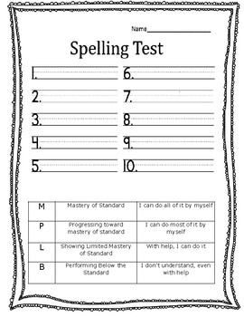 Spelling Test with Standards Based Grading