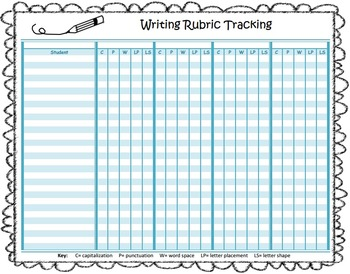 Spelling Test with Writing Rubric and Tracking