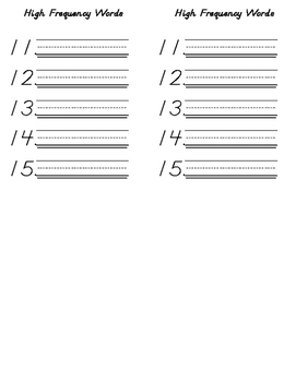 Spelling Test  with lines and #s 1-15