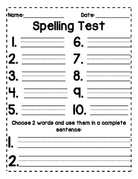 Spelling Tests