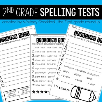 Spelling Tests for 2nd Grade for the Entire Year