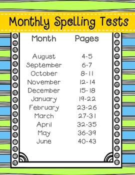 Spelling Tests for the Year