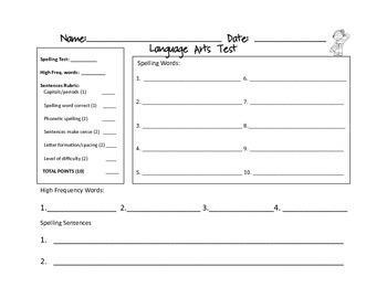 Spelling Tests & more ELA assessment pack