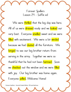 Spelling - The Three Sounds of Suffix ed - 2nd Grade