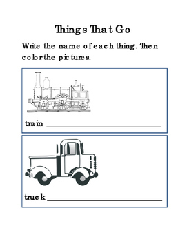 Spelling Things That Go Writing Words Coloring Fine Motor Skills Life Skills 3pg