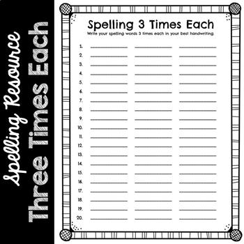 Spelling Three Times Each
