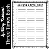 Spelling 3 Times Each Worksheets & Teaching Resources | TpT