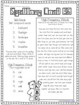 Spelling Throughout the Year: Phonics, word families, and sight words {Grade 2}