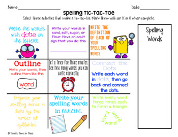 Spelling Word Practice: Tic-Tac-Toe Boards, Activities, & Lists