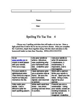 Spelling Tic Tac Toe