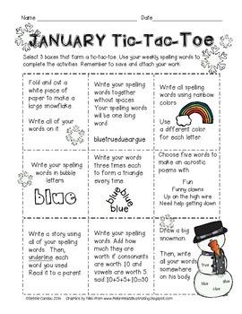 Spelling Tic-Tac-Toe 12 Month Bundle Pack