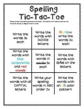 Spelling Tic-Tac-Toe!