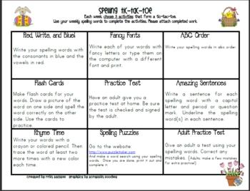 Spelling Tic Tac Toe April