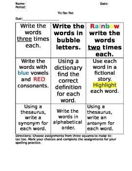 Spelling Tic-Tac-Toe Assignment