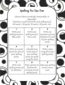 Spelling Tic-Tac-Toe Choice Board
