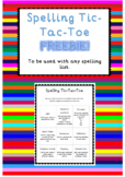 Spelling Tic-Tac-Toe FREEBIE Any spelling list