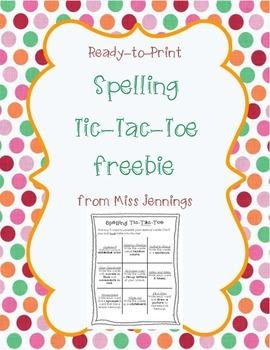 Spelling Tic-Tac-Toe Freebie