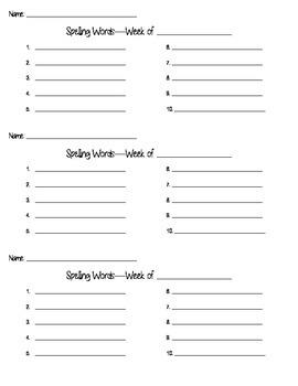 Spelling Tic-Tac-Toe Homework