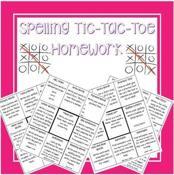 Spelling Tic-Tac-Toe Homework Bundle
