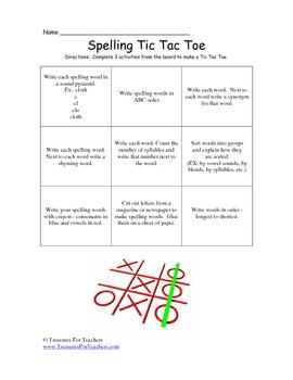 Spelling Tic Tac Toe Homework Chart