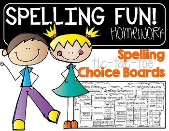 Spelling Tic-Tac-Toe Homework Choice Boards