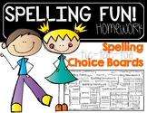 Spelling Tic-Tac-Toe Homework Choice Boards