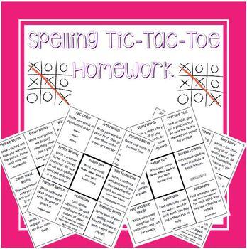 Spelling Tic-Tac-Toe Homework FOURTH NINE WKS