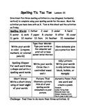Spelling Tic Tac Toe Homework Journeys second 2nd grade unit 5