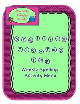 Spelling Tic-Tac-Toe Homework Menu
