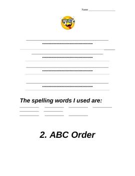 Spelling Tic Tac Toe Homework Practice Spelling words